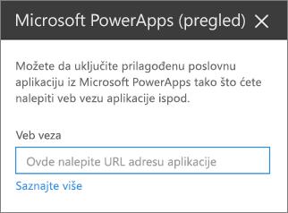 Okno za svojstva Power aplikacije