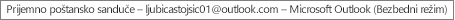 Oznaka na vrhu prozora vam saopštava ime osobe koja je vlasnik prijemnog sandučeta i identifikuje da Outlook radi u bezbednom režimu
