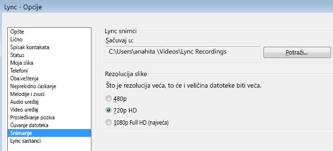 Snimak ekrana rezolucije i lokacije snimka