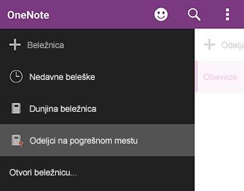 Odeljci na pogrešnom mestu u programu OneNote za Android