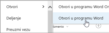 Otvaranje izbor za aplikacije u programu Word potvrđen.