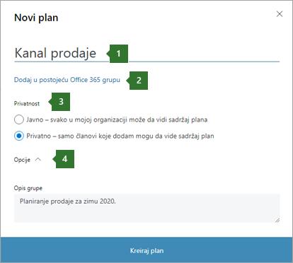 """Snimak ekrana dijaloga """"Planer novog plana"""" koji prikazuje oblačiće za 1 ime koje je unet """"naftovod"""" """"Prodaja"""", 2 za opciju """"Dodaj u postojeću Office 365 grupu"""", 3 opcije privatnosti i 4 opcije opcija."""