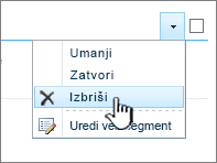 Brisanje segmenta aplikacije na meniju postavke segment aplikacije