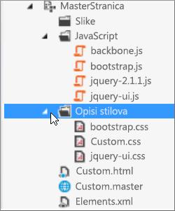 Snimak ekrana elementa brenda na prilagođenoj master stranici