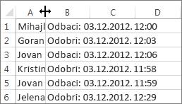 Kliknite između kolona A i B, a zatim kliknite dvaput