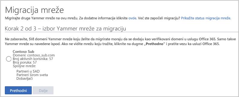 Snimak ekrana korak 2 od 3 – izbor Yammer mreže za Migriranje