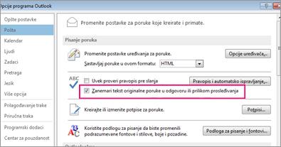 postavka opcije za zanemarivanje provere pravopisa za originalni tekst u odgovoru ili prilikom prosleđivanja