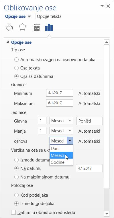 """Okno """"Oblikovanje ose"""" sa osa sa datumima i osnovnim jedinicama izabran"""