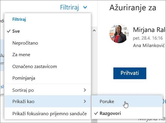 Snimak ekrana menija za filtriranje sa Prikaži kao izabrani