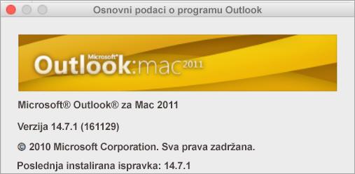 """U polju """"Osnovni podaci o programu Outlook"""" piše """"Outlook za Mac 2011""""."""
