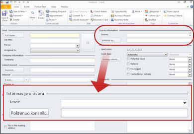 Snimak ekrana koji prikazuje odeljku informacije o izvoru zapisa