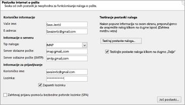 Unesite postavke Gmail servera