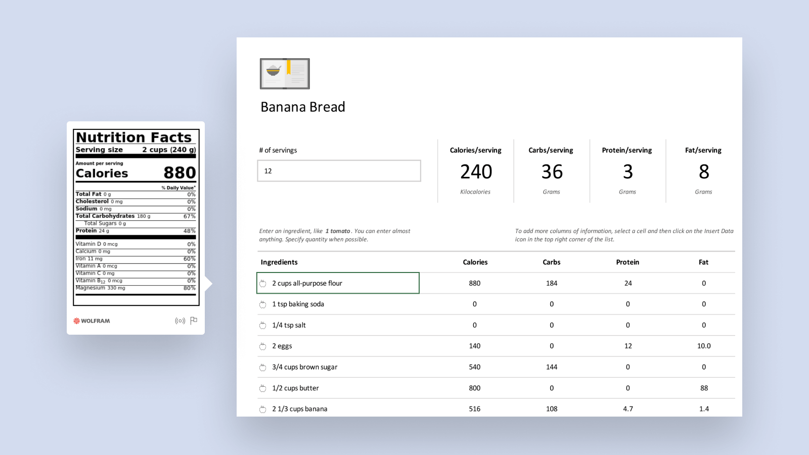Snimak ekrana pametnog predloška analyzera recepta.