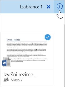 Snimak ekrana izbora stavke i klik na ikonu informacija