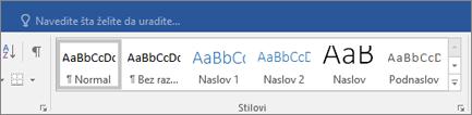 """Office 365 Word – stavka """"Stilovi"""" na kartici """"Početak"""""""