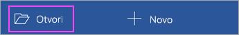 """Dodirnite stavku """"Otvori"""" na početnom ekranu aplikacije."""