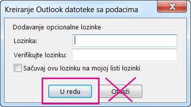 """Kad kreirate pst datoteku, kliknite na dugme """"U redu"""" čak i ako ne želite da joj dodelite lozinku"""