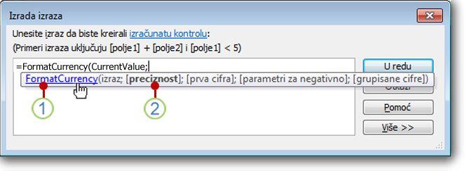 Prikaz brzih informacija za funkciju.