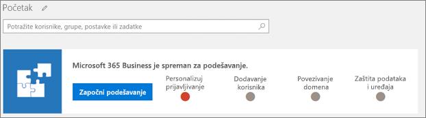 Snimak ekrana čarobnjak za podešavanje Business Cloud paketa.