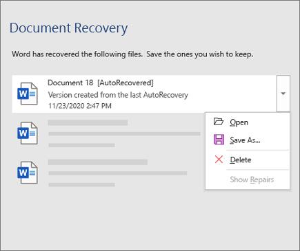 Datoteka automatskog spasavanja navedena u oknu za spasavanje dokumenta