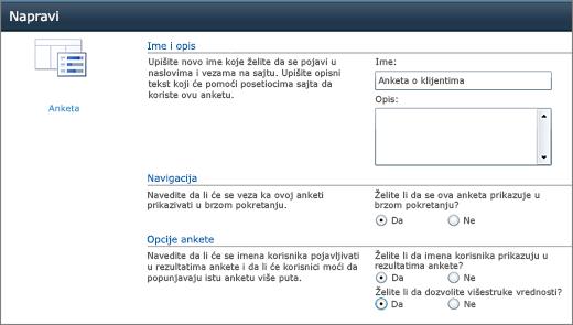 Stranica za opcije SharePoint 2010 ankete