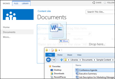 Drop files in SharePoint