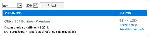 Do stranice računi koji prikazuje saldo račun za porudžbinu.