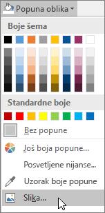 """Snimak ekrana opcije """"Popuna slike"""" stavke """"Popuna oblika"""" na kartici """"Oblikovanje"""" u programu Publisher."""