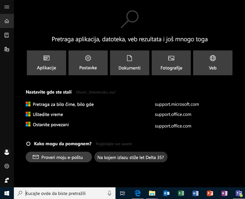 Pretraga u operativnom sistemu Windows 10