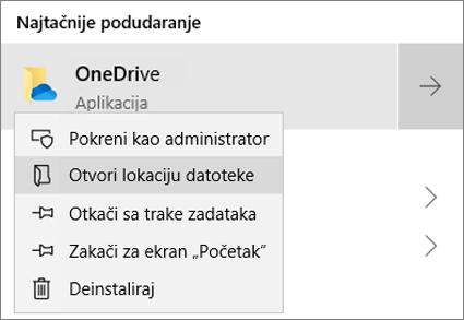 """Snimak ekrana koji prikazuje priručni meni u """"Start"""" meniju sa izabranom opcijom """"Otvori lokaciju datoteke""""."""