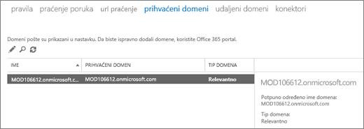 Snimak ekrana prikazuje stavku prihvaćeni domeni stranici Exchange centar administracije. Informacije o ime, prihvaćenim domenom i domen tip je prikazan.
