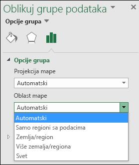 Opcije oblasti mape za Excel MAP