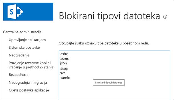 Lista blokiranih datoteka