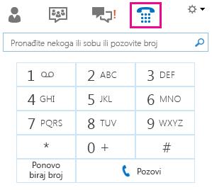 Snimak ekrana tastature telefona za pozivanje kontakta