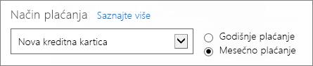 """Odeljak o načinu plaćanja na stranici """"Kako želite da platite"""" pokazuje opcije godišnjeg i mesečnog plaćanja."""