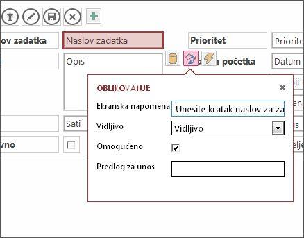 Prikaz u režimu uređivanja koji prikazuje postavke oblikovanja za okvir za tekst.