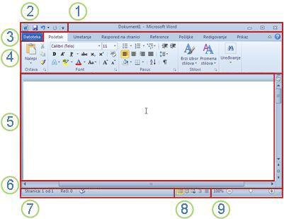 Elementi prozora programa Word