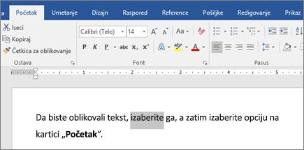 Opcije za oblikovanje teksta na traci u programu Word