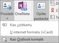 U programu Outlook, na kartici Kontakt, u grupi Radnje odaberite stavku Foward, a zatim odaberite opciju.
