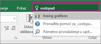 """Polje """"Recite mi..."""" sa kaskadnim tekstom i rezultatima u programu Excel 2016 za Windows"""