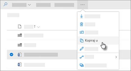 Snimak ekrana Kopiraj na komandu u usluzi OneDrive for Business