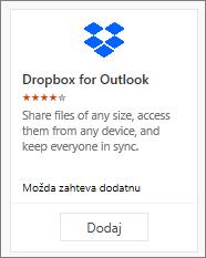 Snimak ekrana pločice programskog dodatka fascikle-sandučeta za Outlook dostupnog besplatno.
