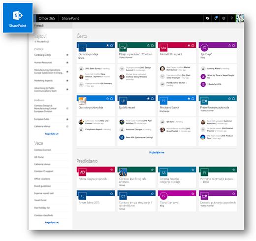 Moderna SharePoint Online matična stranica