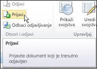 """Traka sistema SharePoint sa kursorom koji pokazuje na ikonu """"Prijavljivanje"""""""