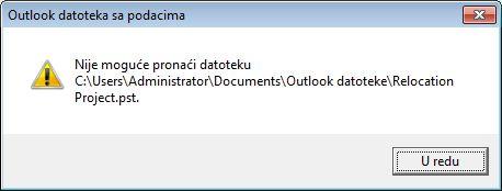 Dijalog Outlook datoteke sa podacima (.pst) koja nedostaje