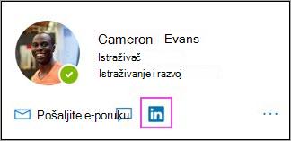 Prikazivanje LinkedIn ikone na kartici profila