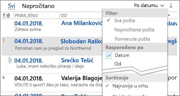 Lista filteri koji su dostupni za sortiranje poruka