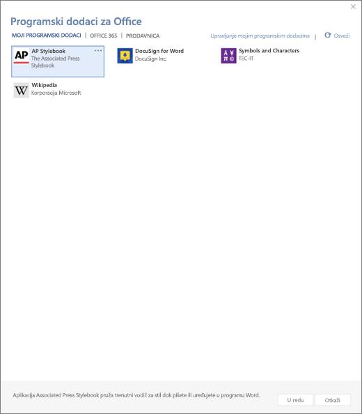 Snimak ekrana prikazuje se moji programski dodaci karticu stranice Office programski dodaci gde su prikazani korisnički programske dodatke. Izaberite programski dodatak da biste ga pokrenuli. Takođe su dostupne opcije za upravljanje moji programski dodaci ili osvežavanja.