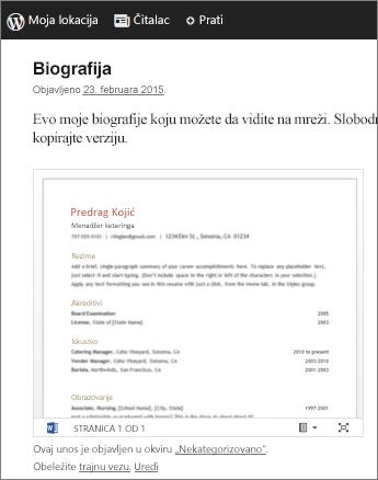 Word dokument ugrađen u objavu na blogu