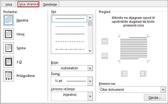Word 2010 Page Border tab of Borders and Shading dialog box